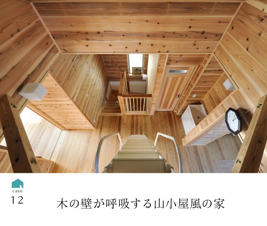 12木の壁が呼吸する山小屋風の家